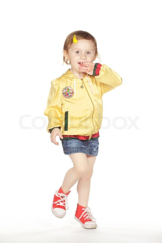 Stock image of 'Cute little girl isolated on white studio shot'
