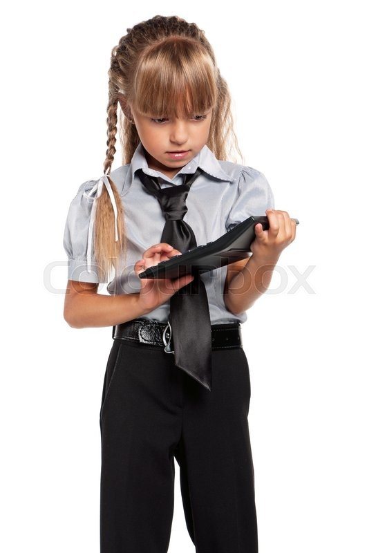 Stock image of 'Little girl in school uniform with calculator isolated on white background'