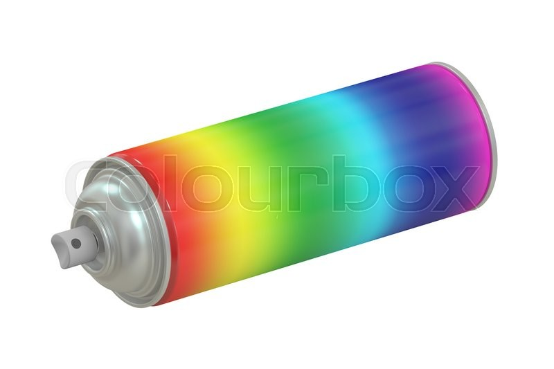 Stock image of 'multicolored spray paint can, 3D rendering isolated on white background'