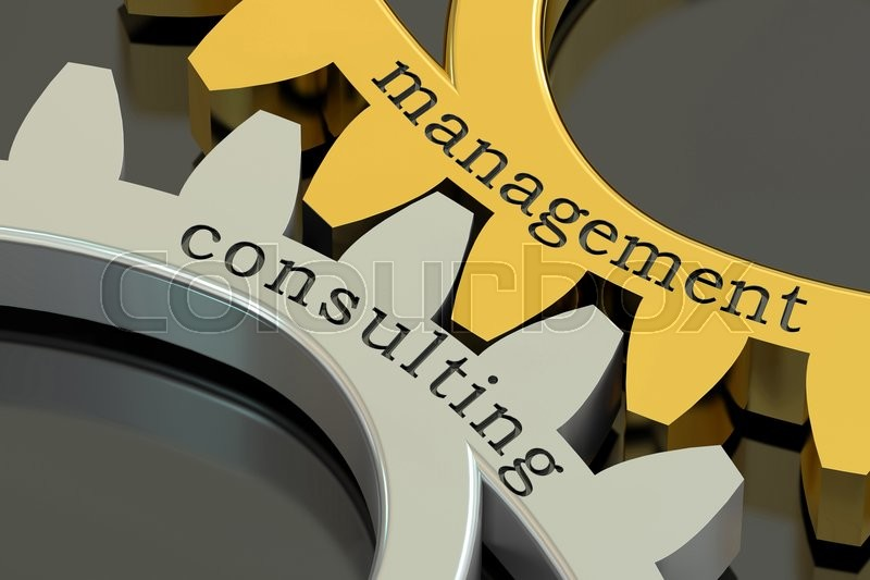 Stock image of 'Management Consulting concept on the gearwheels, 3D rendering'