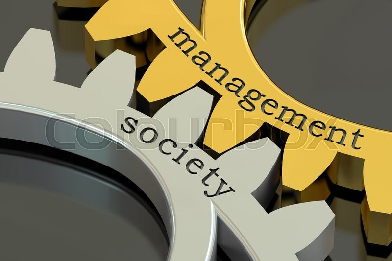 Stock image of 'Management society concept on the gearwheels, 3D rendering'