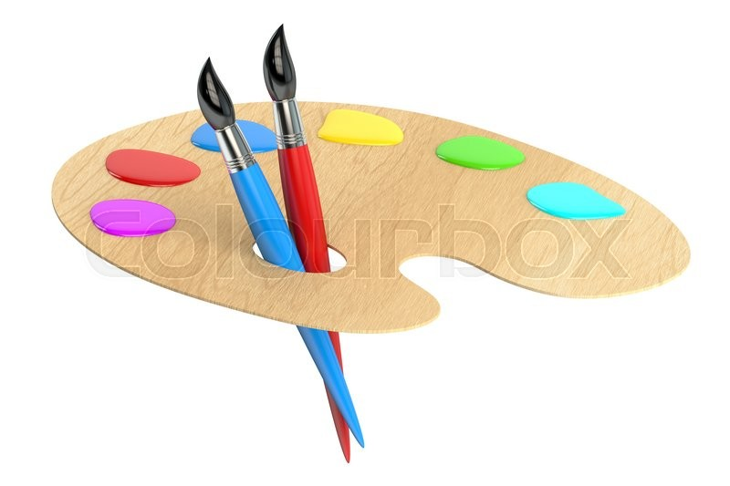 Stock image of 'palette with brushes, 3D rendering isolated on white background'