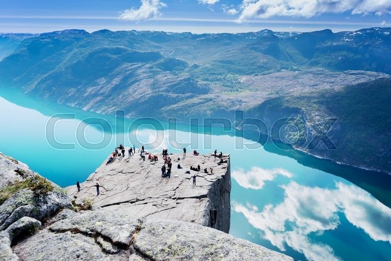 Stock image of 'Cliff Preikestolen at fjord Lysefjord - Norway - nature and travel background'