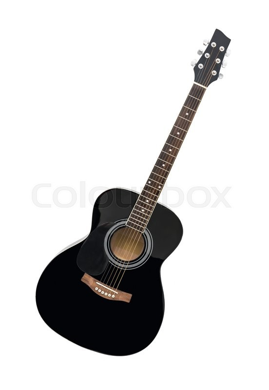 Stock image of 'Black Wooden Classical Acoustic Guitar Isolated on a White Background'