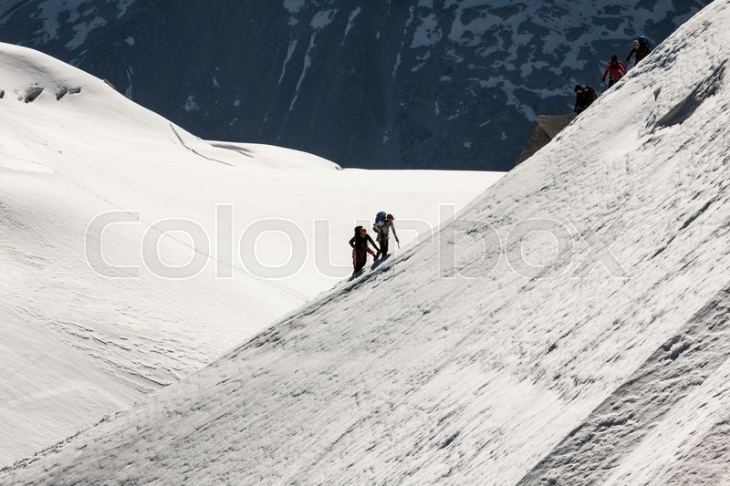 Stock image of 'The view from Aiguille du Midi during acclimatization and climb on Mont Blanc'