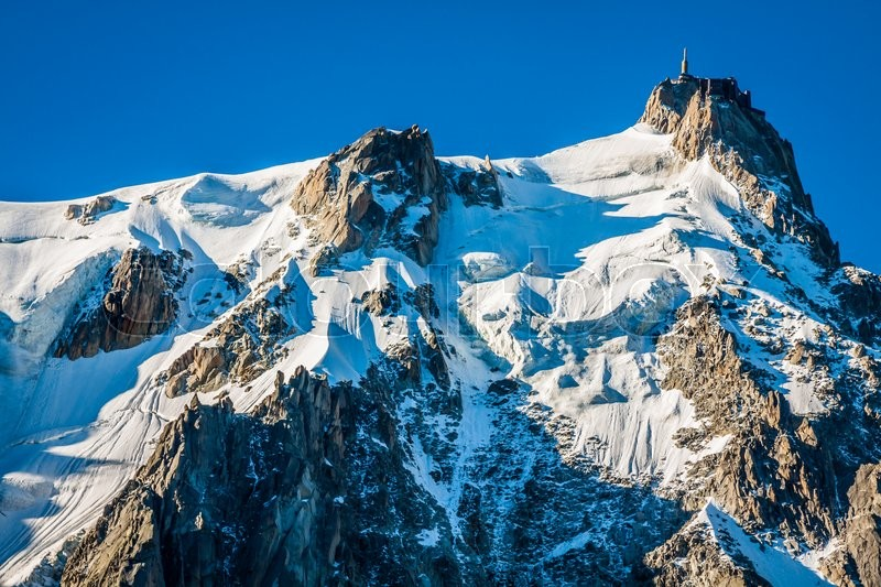 Stock image of 'Aiguille du Midi, 3 842 m height, French Alps, Chamonix, France'