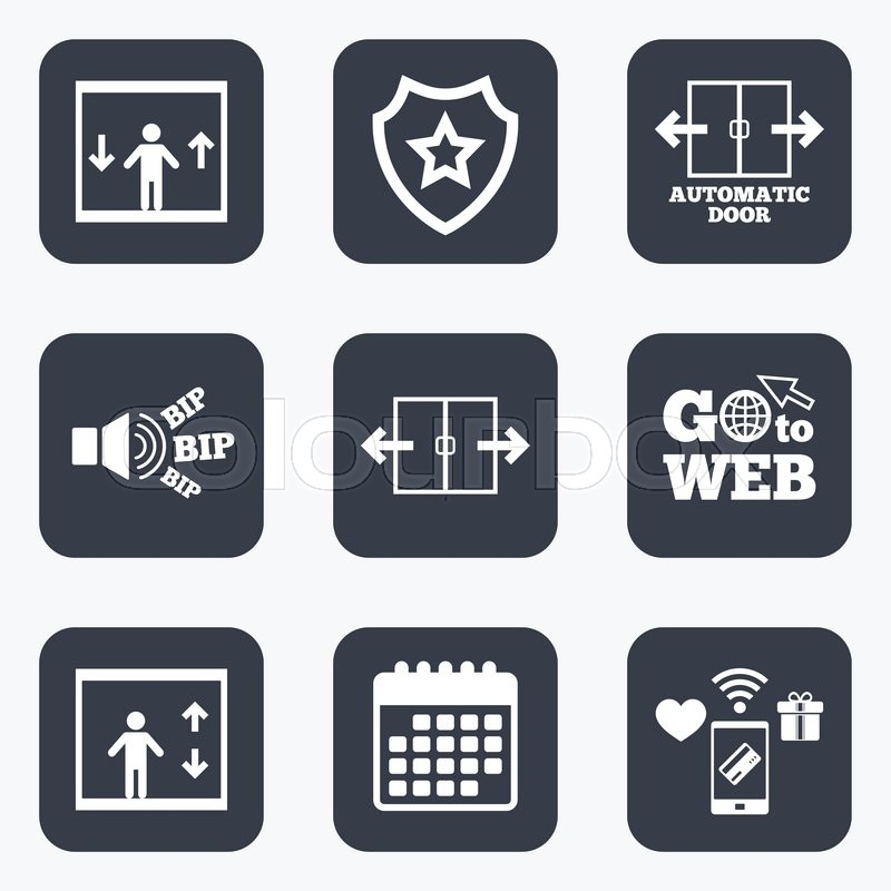 Mobile Payments Wifi And Calendar Icons Automatic Door Icons