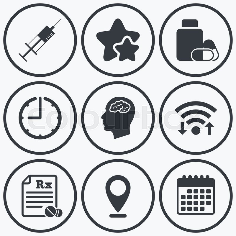 Clock Wifi And Stars Icons Medicine Icons Medical Tablets Bottle