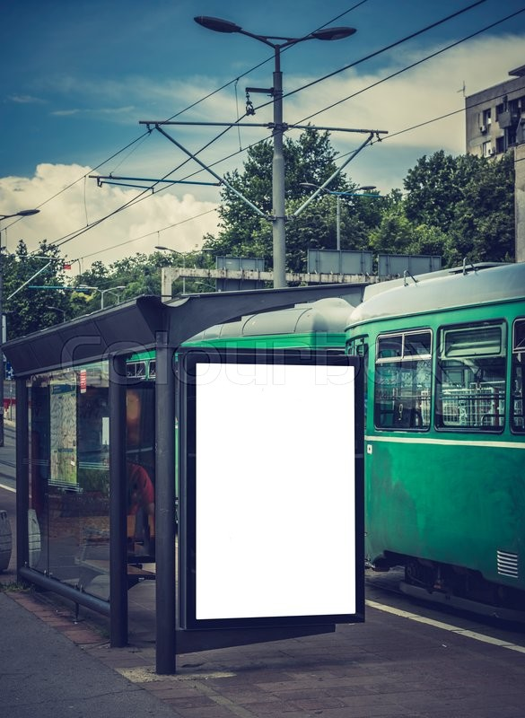 Stock image of 'White blank billboard on the tram station'