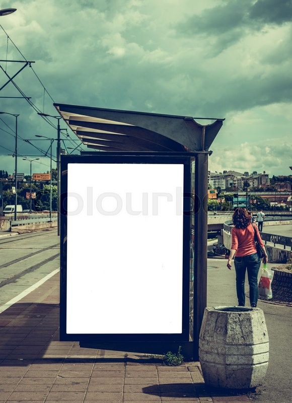 Stock image of 'White blank billboard on the bus station'