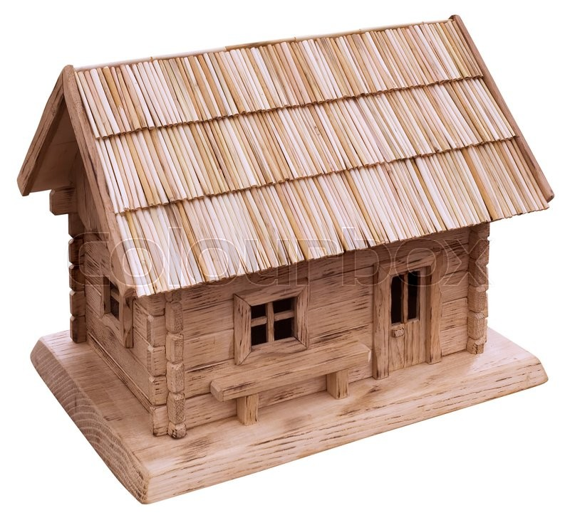 Stock image of 'Old Wooden Cottage House Model'