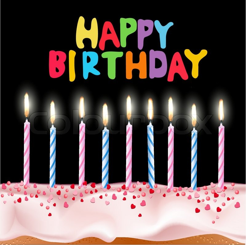 Vector blue and pink candles on a birthday cake with the words
