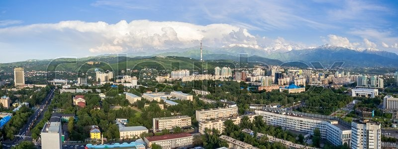 Stock image of 'Panoramic aerial view of Almaty city, Kazakhstan.'