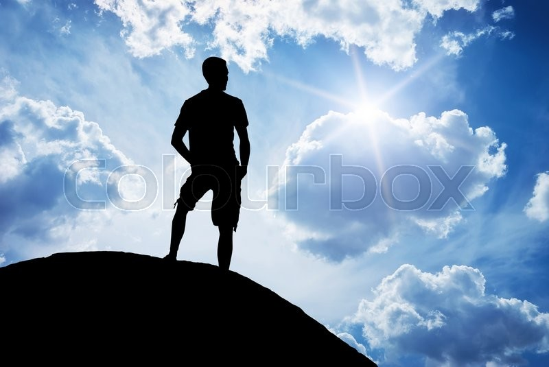 Stock image of 'Man on peak of mountain. Element of design.'