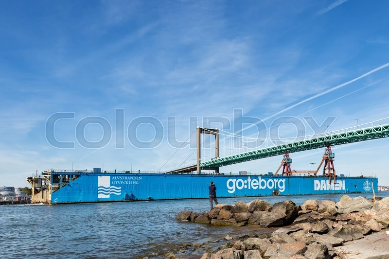 Editorial image of 'Well-known landmark in Goteborg, the dry dock is beeing transported away from Goteborg after being sold to France.'
