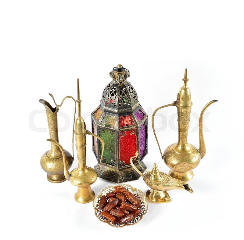 Stock image of 'Vintage golden arabic decorations. Holidays composition with dates fruits. Oriental hospitality concept. Ramadan kareem'