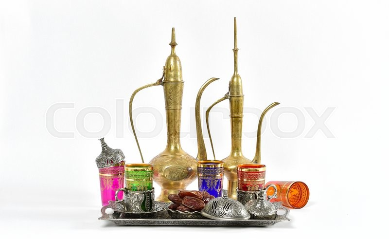Stock image of 'Arabic traditional dishes and decorations. Holidays composition with dates fruits. Oriental hospitality concept. Tea table. Ramadan kareem'
