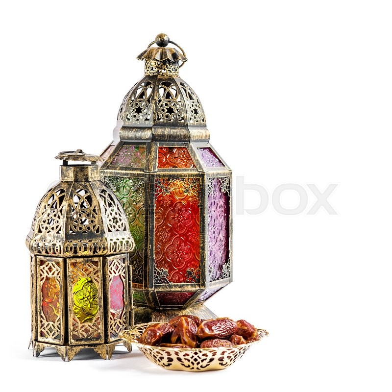 Stock image of 'Oriental light lantern on white background. Arabic holidays decoration. Ramadan kareem. Eid mubarak'