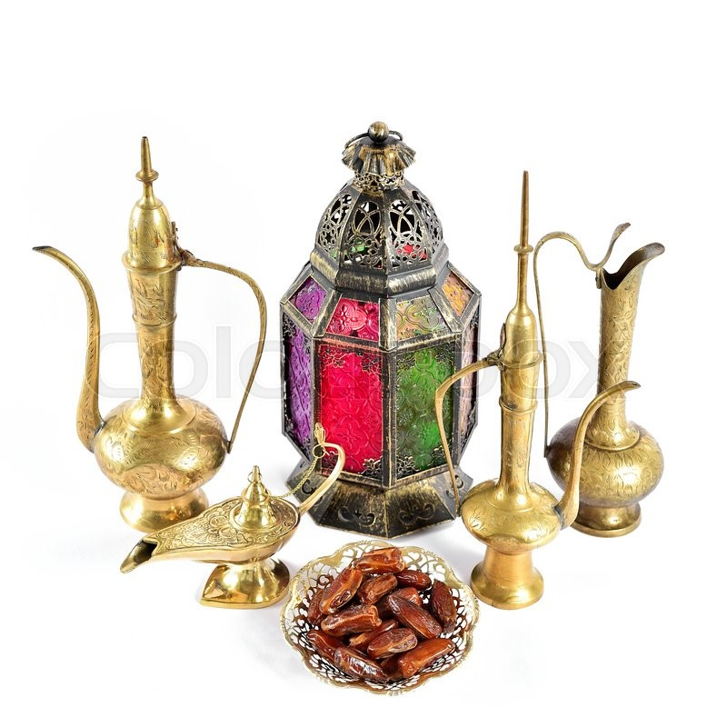 Stock image of 'Oriental holidays decoration lantern, pots, dishes. Islamic hospitality concept. Ramadan kareem'