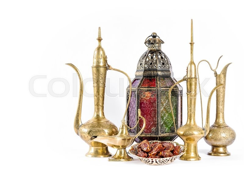 Stock image of 'Oriental holidays decoration on white background. Ramadan kareem. Eid mubarak'