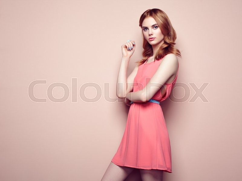 Stock image of 'Fashion portrait of beautiful young woman in a summer dress. Beauty spring photo'