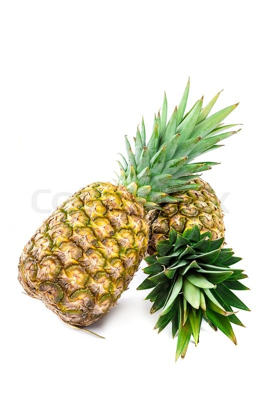Stock image of 'Fresh pineapple fruit isolated on a white background.'
