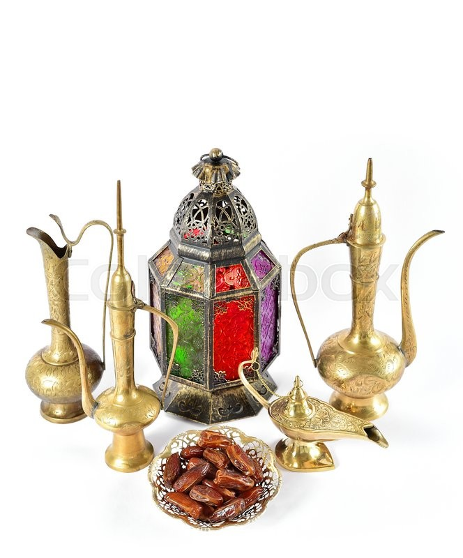 Stock image of 'Vintage golden arabic decorations. Holidays composition with dates fruits. Oriental hospitality concept'