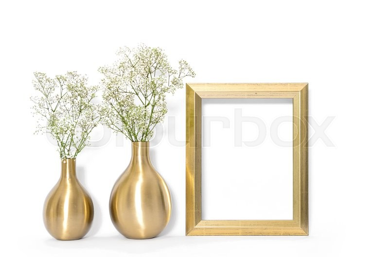 Stock image of 'Picture mock up with golden frame and flowers. Minimal style interior'