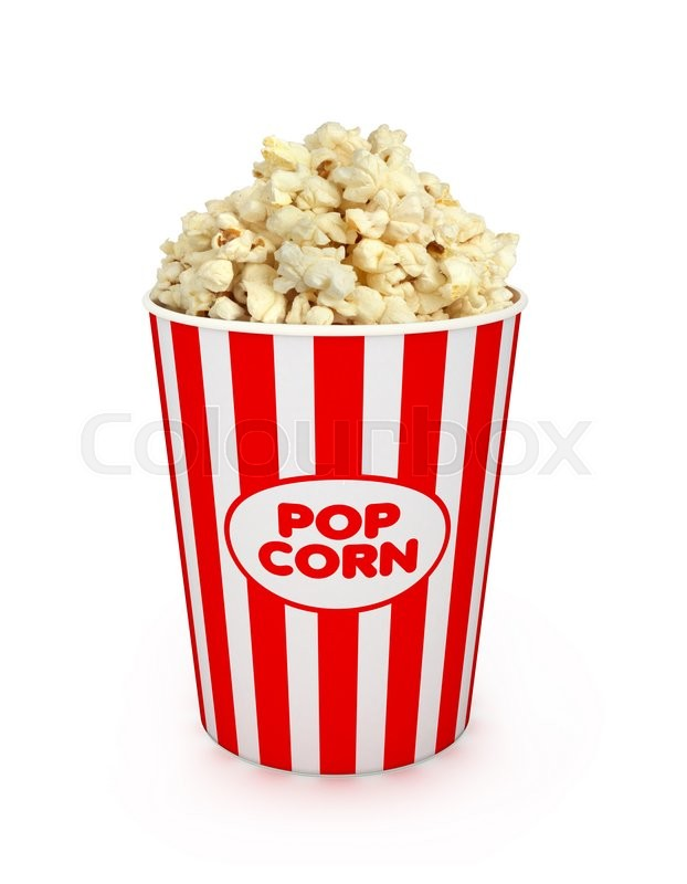 Stock image of 'Popcorn in striped bucket on white background'