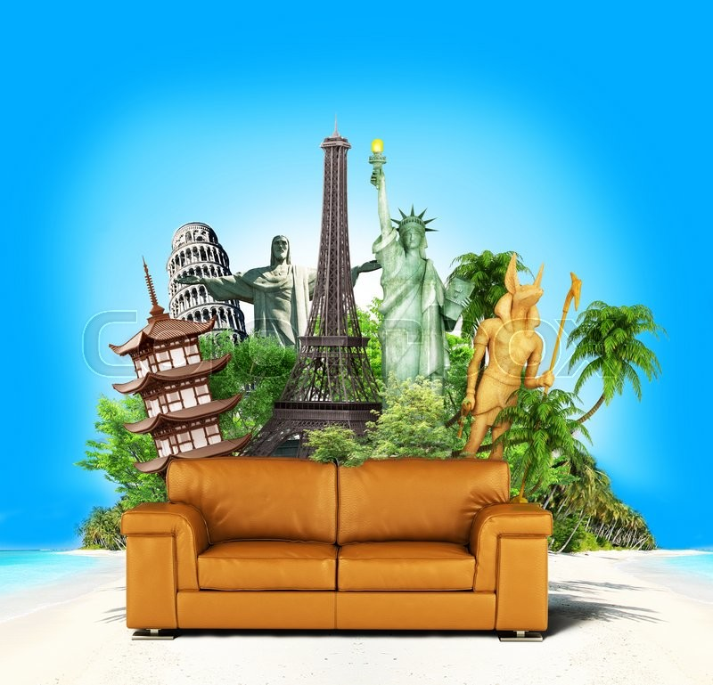 Stock image of 'Travel concept. Leather sofa and world-famous attractions on the sea and palm background. Wallpaper. 3d illustration'
