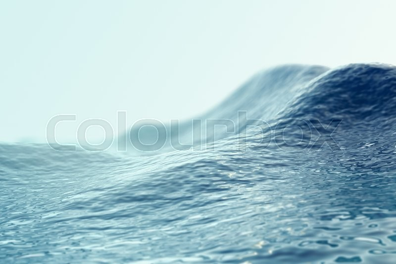Stock image of 'Sea, ocean wave close up with focus effects. 3d illustration'