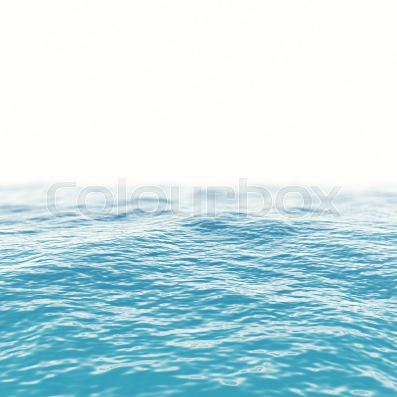 Stock image of 'Blue sea water surface horizon with depth of field effects. 3d illustration'