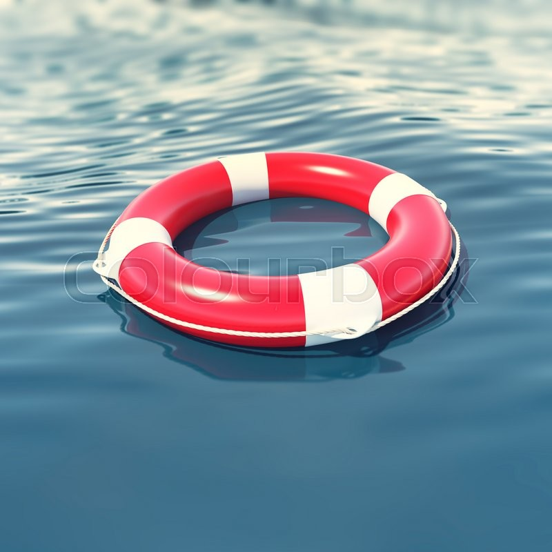 Stock image of 'Red lifebuoy in blue sea with depth of field effect. 3d illustration'