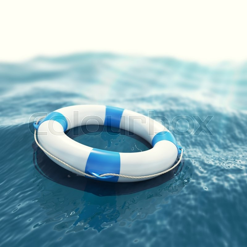 Stock image of 'Lifebuoy floating in a stormy sea with the effect of sun rays. 3d illustration'