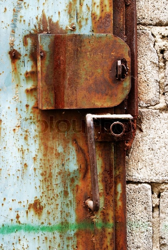 Old Rusty Lock On The Garage Door Stock Photo Colourbox