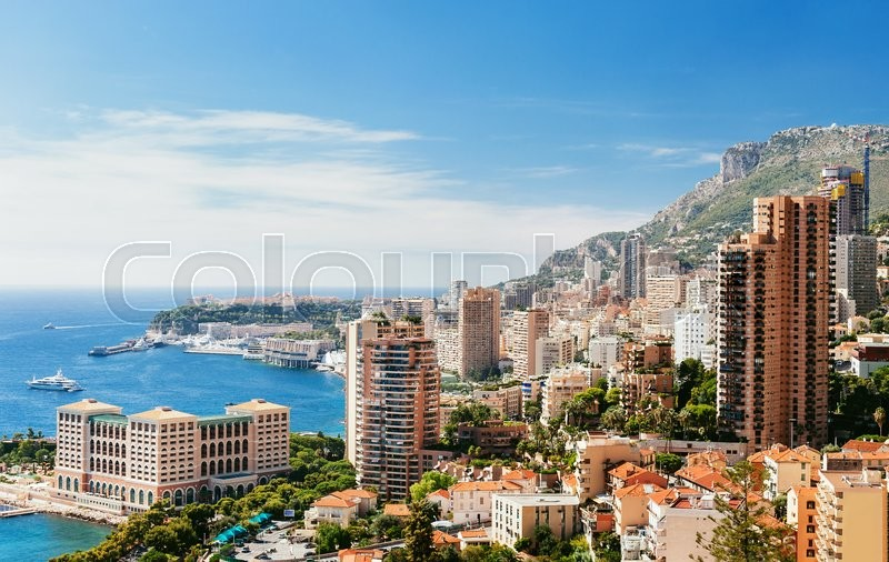 Stock image of 'Monte Carlo top View with blue sky and sea'