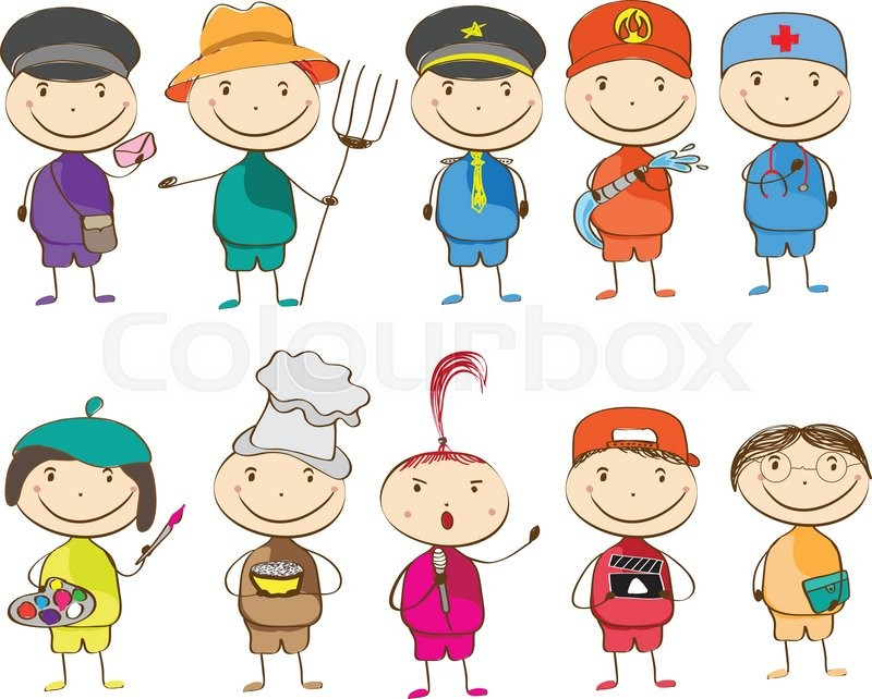 Set of ten children with different professions. postman, farmer, police, fireman, doctor, artist, chef, singer, director, teacher, vector