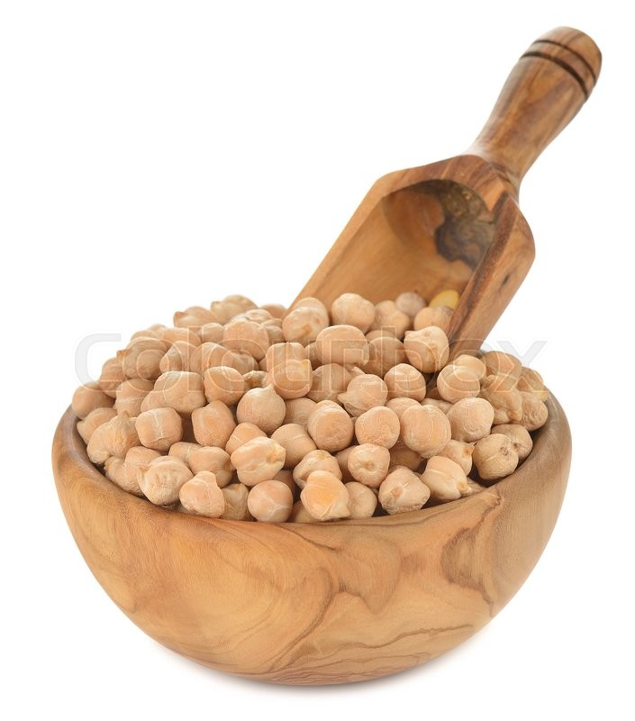 Stock image of 'Chickpeas in a wooden bowl isolated on white background'