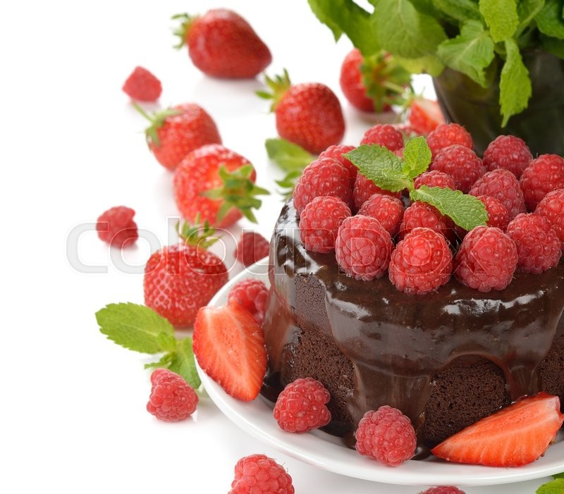 Stock image of 'Chocolate cake with raspberries on a white background'