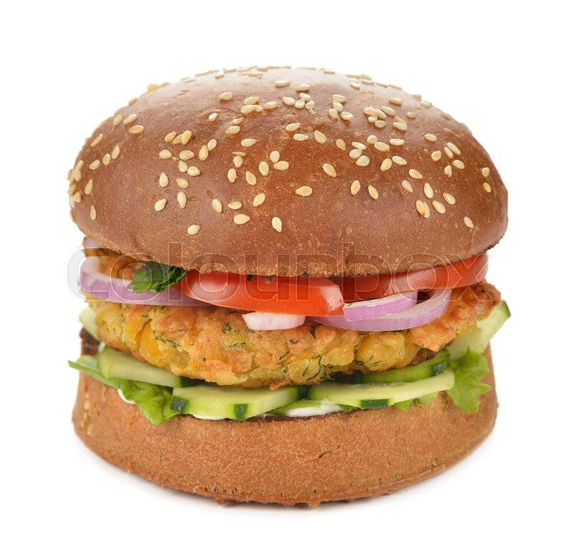 Stock image of 'Vegetarian burger on a white background'