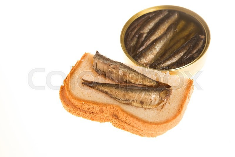 Stock image of 'Open can and sandwich   of sprats on a  isolated background'