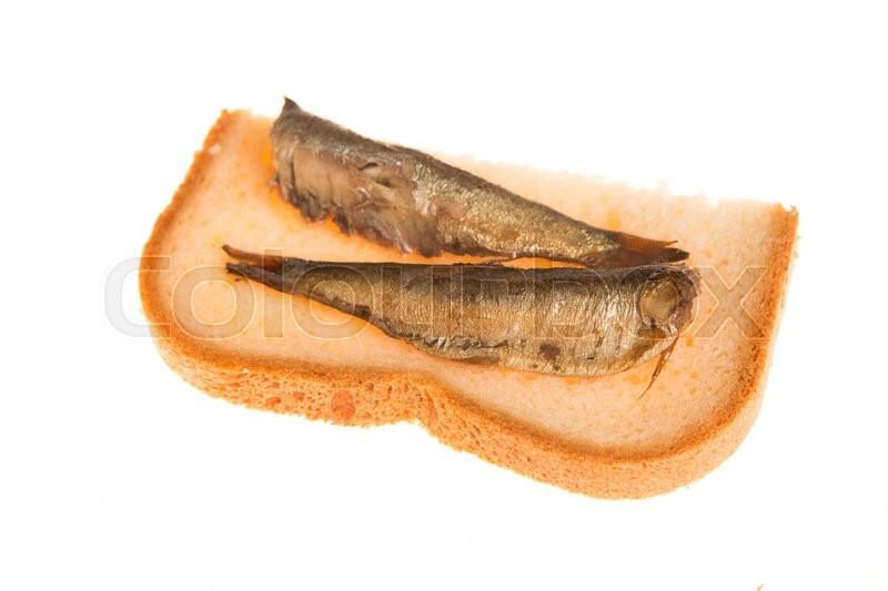 Stock image of 'sandwich  with of sprats on a isolated background'