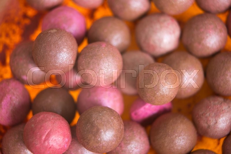 Stock image of 'New colored blush in the balls  close-up'