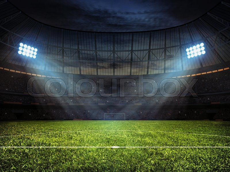 Stock image of 'Sport concept background - soccer footbal stadium with floodlights. Grass football pitch with mark up and soccer goal with net'
