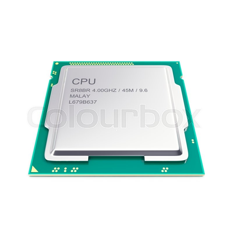 Stock image of 'Central processor unit, CPU isolated on white. 3d illustration'