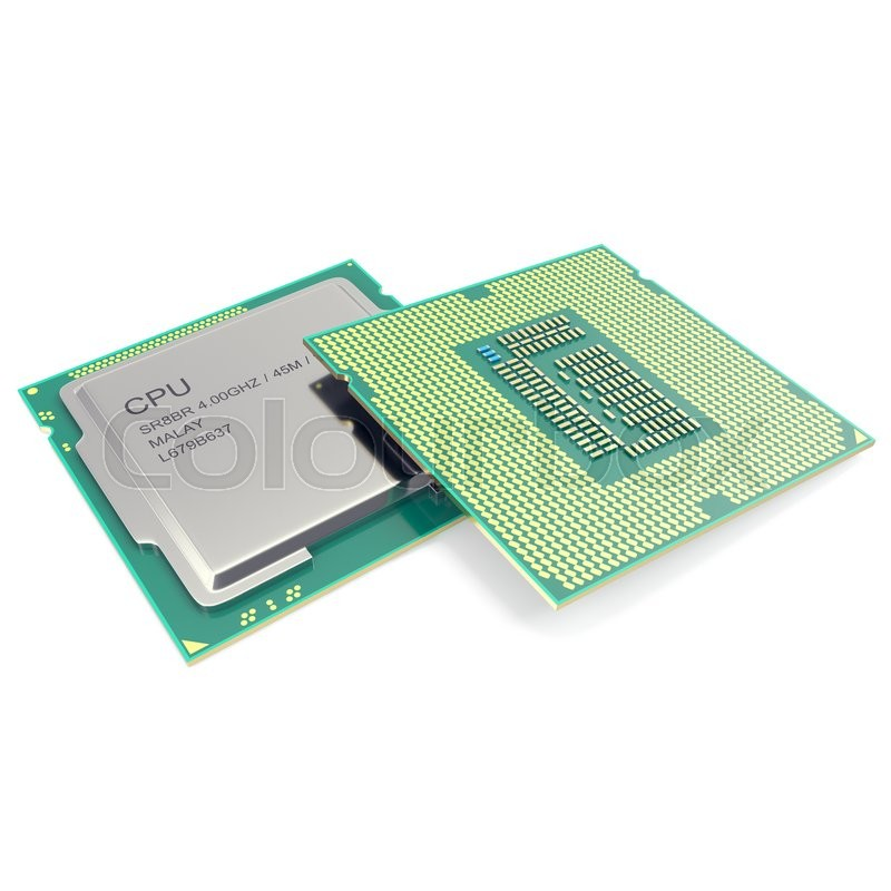 Stock image of 'Group modern central computer processors CPU isolated on white background. 3d illustration'