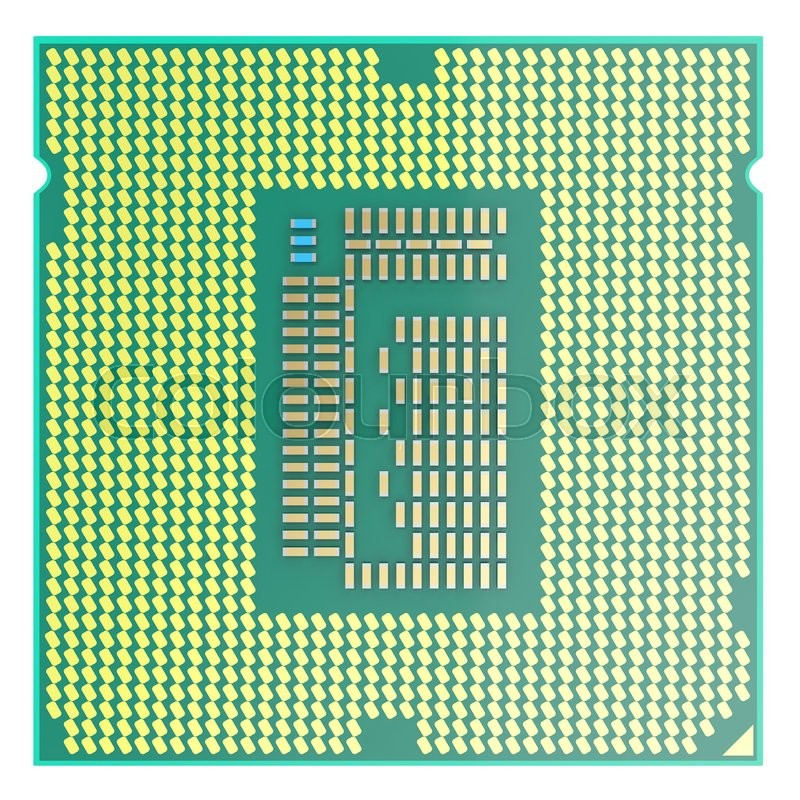 Stock image of 'CPU chip, central processor unit, top view isolated on white background. 3d illustration'