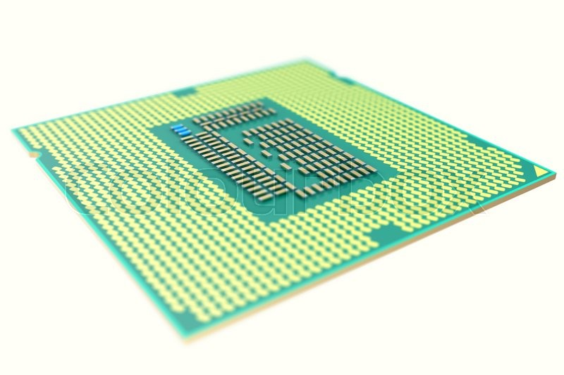 Stock image of 'CPU chip, central processor unit, isolated on white with depth of field effects. 3d illustration'