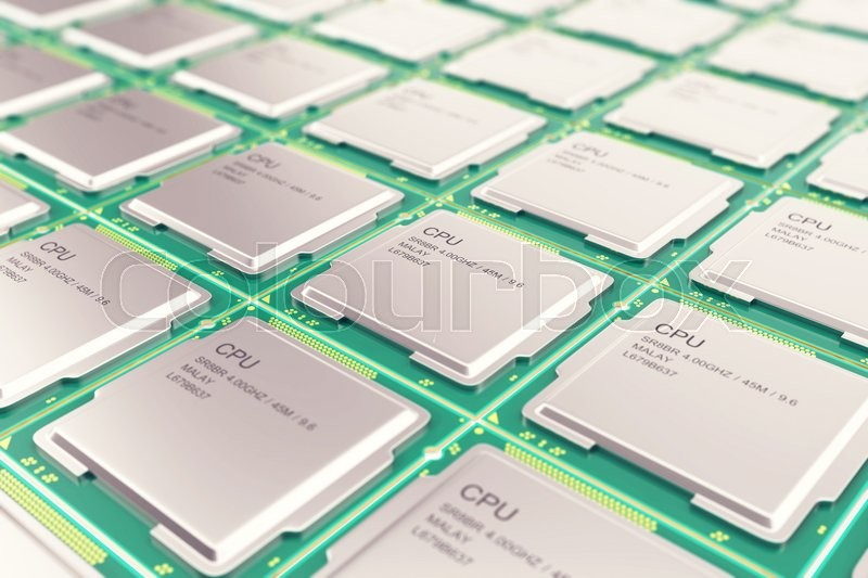 Stock image of 'Computer PC CPU chip electronics industry concept, close-up view of modern processors CPU with depth of field effect'