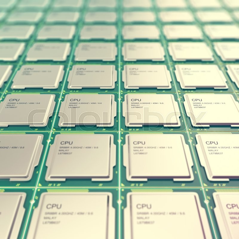 Stock image of 'Computer PC CPU chip electronics industry concept, close-up viewmodern processors with depth of field effect.'